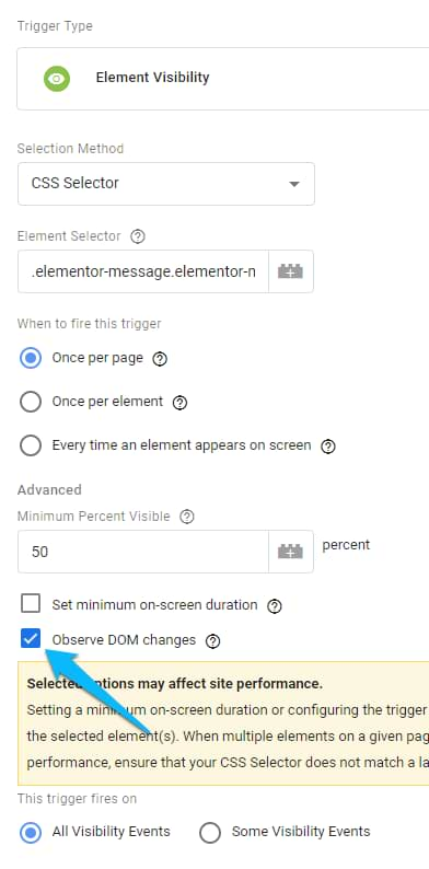 element visibility trigger, elementor form tracking, lead tracking